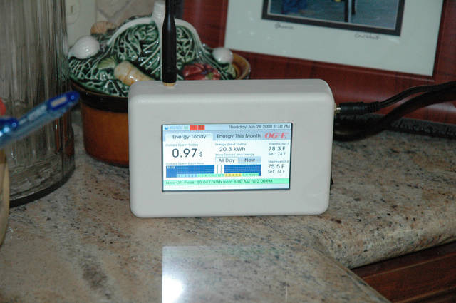 This is an in-home display of OG&E's Smart Power program. It provides customers with near-real-time information about electricity use.