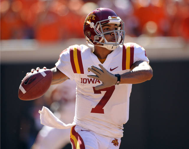 Iowa State quarterback, Jared Barnett, looks for an open teammate during the first half of an NCAA college football game against Oklahoma State in Stillwater, Okla. Saturday, Oct. 20, 2012. Oklahoma State defeated Iowa State 31-10.(AP Photo/Brody Schmidt)