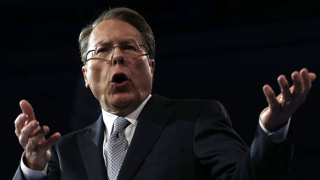 NATIONAL HARBOR, MD - MARCH 15:  Wayne LaPierre, CEO of the National Rifle Association, delivers remarks during the second day of the 40th annual Conservative Political Action Conference (CPAC) March 15, 2013 in National Harbor, Maryland. The American conservative Union held its annual conference in the suburb of Washington, DC, to rally conservatives and generate ideas.  (Photo by Alex Wong/Getty Images)