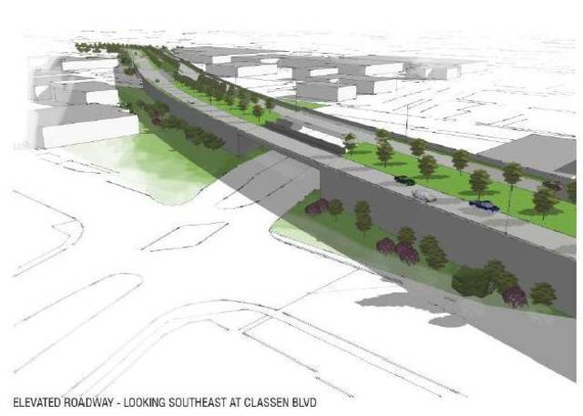 ODOT's original plan to build new elevated boulevard from Western Avenue to just short of Walker Avenue.