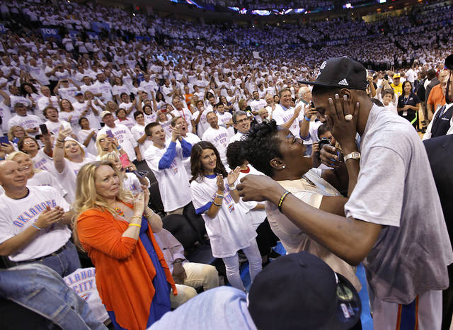Kevin Durant talks to his mom Wanda Pratt after the 107-99 win over San Antonio during Game 6 of the Western Conference Finals between the Oklahoma City Thunder and the San Antonio Spurs in the NBA playoffs at the Chesapeake Energy Arena in Oklahoma City, Wednesday, June 6, 2012. Photo by Chris Landsberger, The Oklahoman