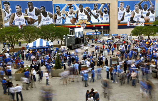 Thunder fans in the fan fest before the first round NBA playoff game between the Oklahoma City Thunder and the Denver Nuggets on Sunday, April 17, 2011, in Oklahoma City, Okla. Photo by Chris Landsberger, The Oklahoman