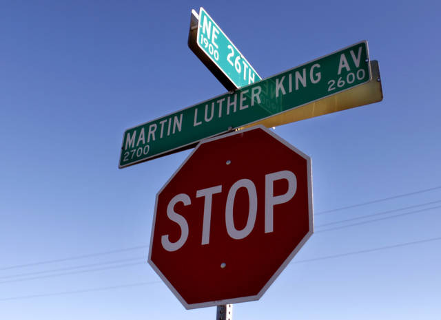 A stop sign is pictured at NE 26th and Martin Luther King Avenue in Oklahoma City, Okla., Sunday, Jan. 10, 2010. Photo by Sarah Phipps, The Oklahoman