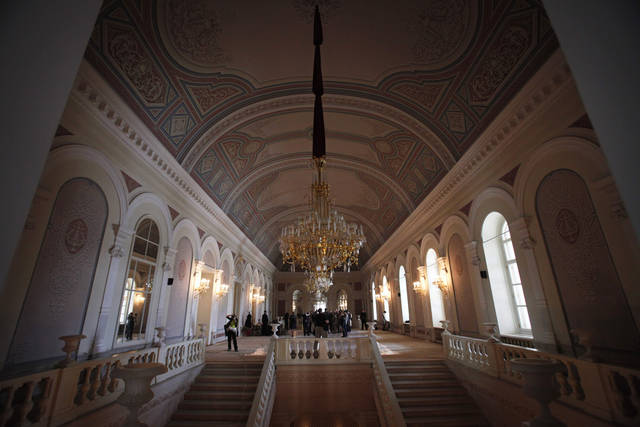 A hall inside the building of the Bolshoi Theater in Moscow, Monday, April 25, 2011. Russia's iconic theater has been closed for reconstruction since 2005, spawning accusations of embezzlement and fraud. (AP Photo/Alexander Zemlianichenko)