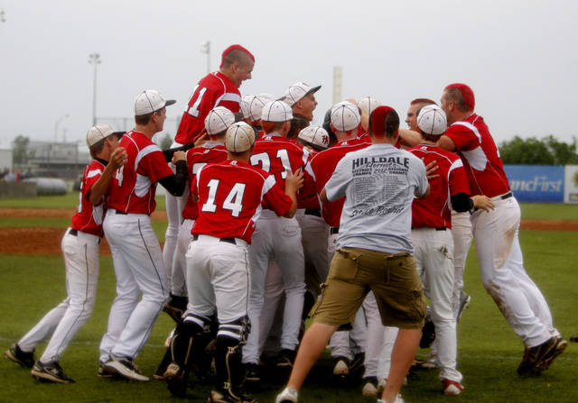 Hilldale celebrates their win during the 4A high school baseball playoff game between Hilldale and Anadarko at Shawnee High School in Shawnee, Okla., Friday, May 11, 2012. Photo by Sarah Phipps, The Oklahoman