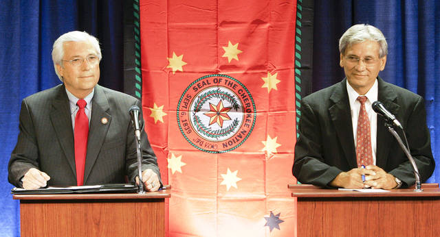 Bill John Baker, left, and Chad Smith are shown during a June 6 debate in Claremore.  AP Photo