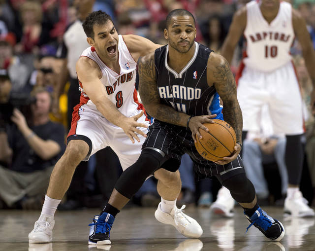 Toronto Raptors guard Jose Calderon (8) guards Orlando Magic guard Jameer Nelson (14) during first half NBA action in Toronto on Sunday, November 18, 2012. AP Photo/THE CANADIAN PRESS,Frank Gunn)