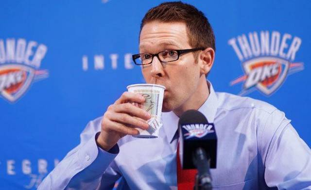 Sam Presti, Oklahoma City Thunder general manager, talks to the media in the Thunder practice facility, Friday afternoon, Feb. 25, 2011.     Photo by Jim Beckel, The Oklahoman