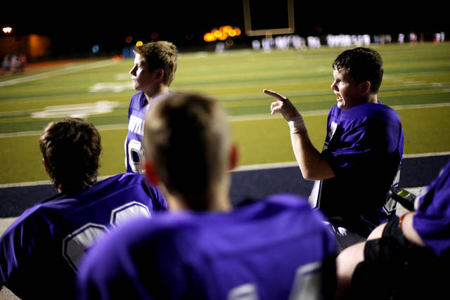 Colton James talks during halftime of the Sequoyah Middle School football game, Thursday, September 27, 2012. Colton along with teammates Lucas Coker, and Parker Tumleson, helped Keegan Erbst, who has muscular dystrophy and is confined to a wheelchair, get involved with the team. Photo by Bryan Terry, The Oklahoman