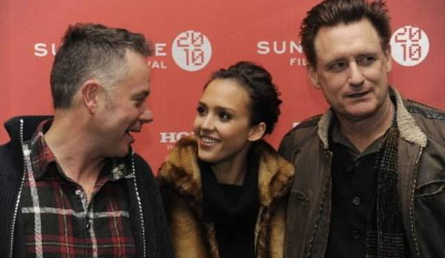 "Michael Winterbottom, left, director of ""The  Killer  Inside  Me,"" poses with cast members Jessica Alba, center, and Bill Pullman at the premiere of the film at the Sundance Film Festival in Park City, Utah, Sunday, Jan. 24, 2010. (AP Photo/Chris Pizzello)"