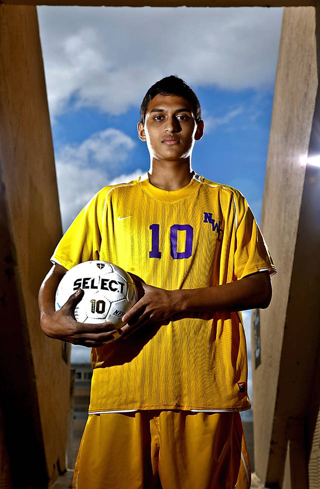 Northwest Classen soccer player Juan Garcia poses for a photo at Taft Stadium on Tuesday, March 20, 2012, in Oklahoma City, Oklahoma.  Photo by Chris Landsberger, The Oklahoman