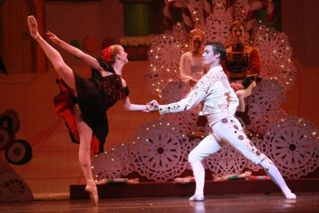 "Oklahoma City Ballet's Stephanie Pitts and Jerry Pines appear in costume as Spanish dancers in ""The Nutcracker."" Photo by Rocky Chen."