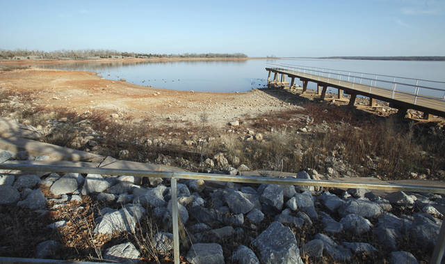 Water level at Lake Thunderbird is very low on Thursday, Feb. 16, 2012, in Norman, Okla.   Photo by Steve Sisney, The Oklahoman