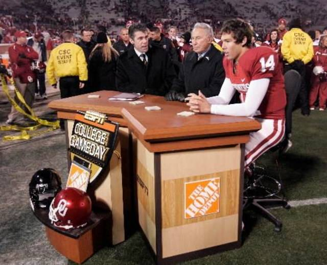 OU quarterback  Sam  Bradford is the guest on ESPN&#039;s GameDay after the college football game between the University of Oklahoma Sooners (OU) and Texas Tech University at the Gaylord Family -- Oklahoma Memorial Stadium on Saturday, Nov. 22, 2008, in Norman, Okla. BY STEVE SISNEY, THE OKLAHOMAN 