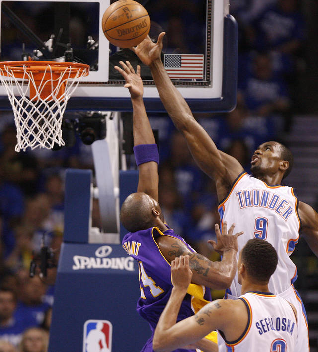Oklahoma City's Serge Ibaka (9) blocks the shot of Los Angeles' Kobe Bryant (24) during Game 2 in the second round of the NBA playoffs between the Oklahoma City Thunder and L.A. Lakers at Chesapeake Energy Arena in Oklahoma City, Wednesday, May 16, 2012. Photo by Bryan Terry, The Oklahoman