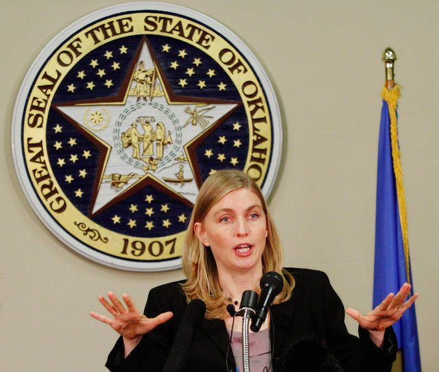 Terri White speaks at a news conference at the state Capitol Wednesday morning, Jan. 11, 2012, She is with the Oklahoma Department of Mental Health.    Photo by Jim Beckel, The Oklahoman