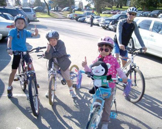 Dubbed the Green Olympics, and not just for the mild winter weather, Vancouver families hit the parks on their bicycles.  Photo credit: Odyssey International