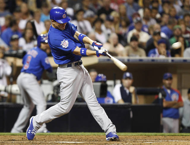 Chicago Cubs' Josh Vitters connects for his first major league hit with a double in the seventh inning that drives in two runs against the San Diego Padres in a baseball game Tuesday, Aug. 7, 2012 in San Diego. (AP Photo/Lenny Ignelzi)