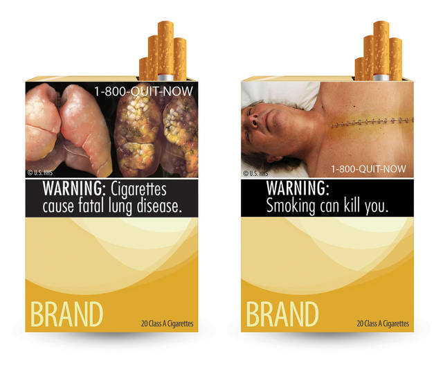FILE - In this combo made from file images provided by the U.S. Food and Drug Administration shows two of nine new warning labels cigarette makers will have to use by the fall of 2012. An appeals court says New York City cannot try to scare smokers by requiring grotesque images of diseased lungs and decaying gums at stores that sell cigarettes. It says the federal government gets to decide how to warn people about the dangers of smoking tobacco. The 2nd U.S. Circuit Court of Appeals in Manhattan issued its ruling Tuesday, July 10, 2012. It rejected a 2009 city Board of Health resolution requiring tobacco retailers to display signs bearing graphic images showing the adverse health effects of smoking. (AP Photo/U.S. Food and Drug Administration, File)