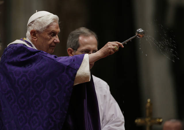 "Pope Benedict XVI blesses the ashes as he celebrates the Ash Wednesday mass in St. Peter's Basilica at the Vatican, Wednesday, Feb. 13, 2013.  Ash Wednesday marks the beginning of Lent, a solemn period of 40 days of prayer and self-denial leading up to Easter. Pope Benedict XVI told thousands of faithful Wednesday that he was resigning for ""the good of the church"", an extraordinary scene of a pope explaining himself to his flock that unfolded in his first appearance since dropping the bombshell announcement. (AP Photo/Gregorio Borgia)"