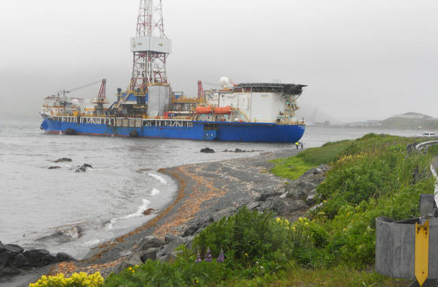 A Shell drilling ship drifts near shore near Dutch Harbor on Unalaska Island, Alaska. The Coast Guard says an inspection of the Shell drilling ship that lost its mooring and drifted toward shore of an Alaska Island shows no signs of damage or grounding. AP Photo <strong> - AP</strong>