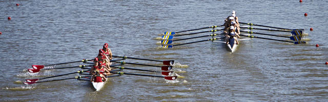 Teams compete during the Oklahoma Regatta Festival on the Oklahoma River on Saturday, Oct. 9, 2010, in Oklahoma City, Okla. 