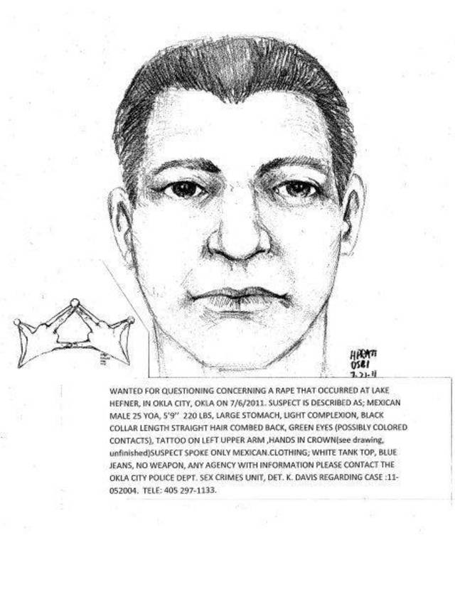 Oklahoma City Police Sex Crime investigators want to identify the man shown in the attached composite sketch.Ê He is wanted for the rape of a 17 year old girl at Stars and Stripes park on the evening of Jun 21st. Photo Provided by OSBI ORG XMIT: KOD