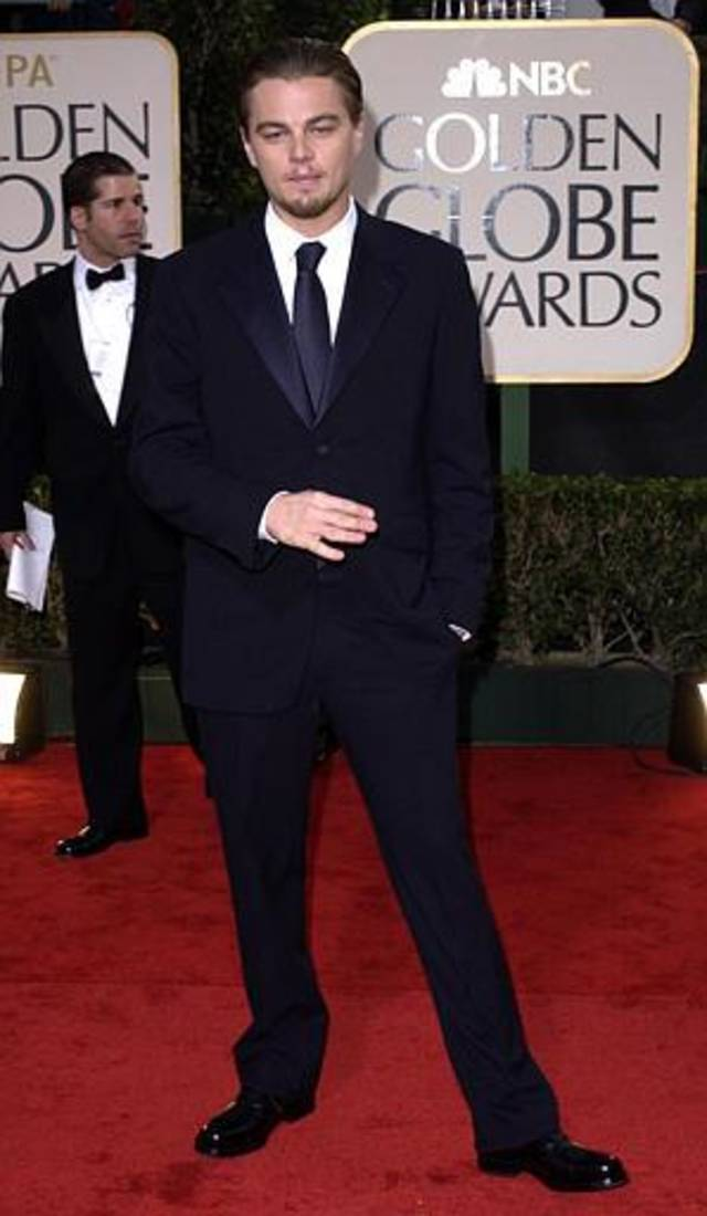 "Leonardo DiCaprio, nominated for best performance by an actor in a motion picture drama for his work in ""Catch Me if You Can,"" arrives for the 60th Annual Golden Globe Awards, in Beverly Hills, Calif., Sunday, Jan. 19, 2003. (AP Photo/Kim D. Johnson)"