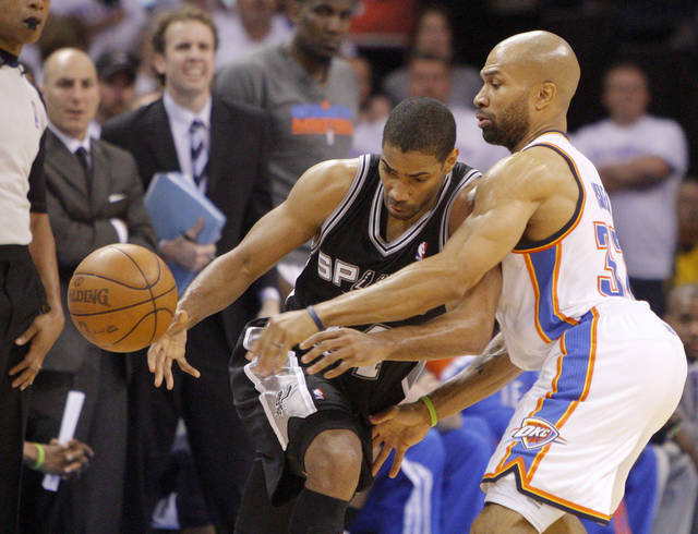 Oklahoma City's Derek Fisher (37) defends San Antonio's Gary Neal (14) during Game 6 of the Western Conference Finals between the Oklahoma City Thunder and the San Antonio Spurs in the NBA playoffs at the Chesapeake Energy Arena in Oklahoma City, Wednesday, June 6, 2012. Oklahoma City won 107-99. Photo by Bryan Terry, The Oklahoman