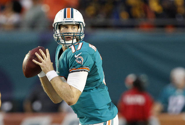 FILE - This Aug. 24, 2012 file photo shows shows Miami Dolphins quarterback Ryan Tannehill preparing to pass during the first half of an NFL preseason football game against the Atlanta Falcons, in Miami. Youth and inexperience have taken over the most important position in the NFL. Ten starting quarterbacks will have one year or less of experience this season, with five teams letting rookies run the show. (AP Photo/Lynne Sladky, File)