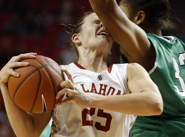 Oklahoma's Whitney Hand takes an arm to the face courtesy of North Texas' Alexis Hyder during their Dec. 6, 2012 game. Hand tore the ACL in her left knee later in the game, likely ending her collegiate career at Oklahoma. PHOTO BY STEVE SISNEY, The Oklahoman