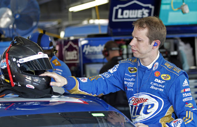  Brad Keselowski prepares for practice for Saturday&#039;s NASCAR Sprint Cup Series auto race in Concord, N.C., Thursday, Oct. 11, 2012. (AP Photo/Terry Renna)  