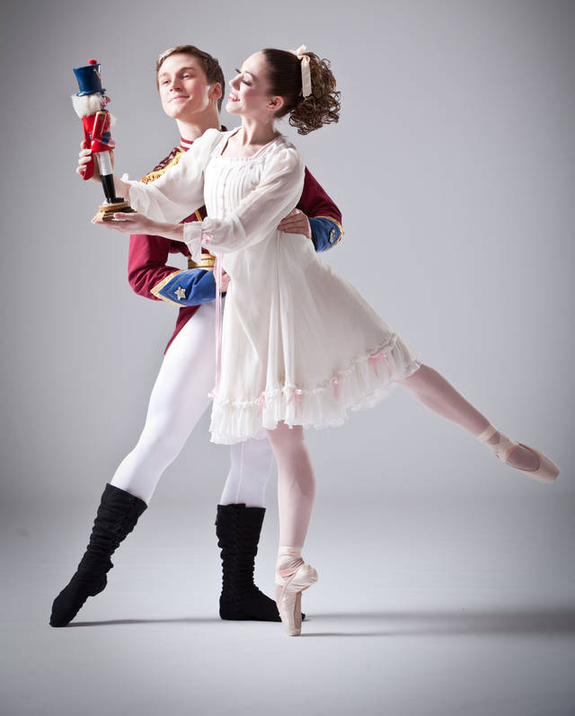 "Tye Love as Hans and Amanda Herd as Clara in the Oklahoma City Ballet production of ""The Nutcracker""   Photo by Simon Hurst       <strong>Photo by Simon Hurst</strong>"