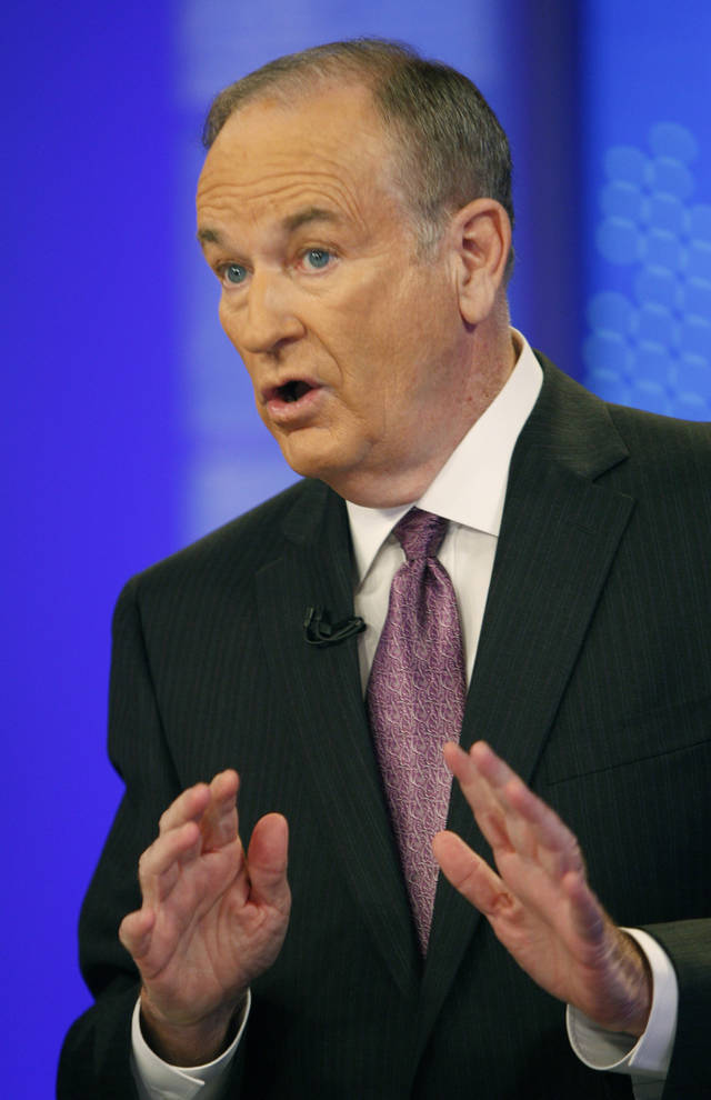 "FILE - This Nov. 16, 2009 file photo shows Fox News commentator Bill O'Reilly during a taping for ""The O'Reilly Factor,"" in New York.  (AP Photo/Kathy Willens, file)"