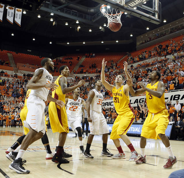 Oklahoma State Cowboys' Marcus Smart (33) watches his game winning shot go through the basket in the Cowboy's 78-76 win over Iowa State during the college basketball game between the Oklahoma State University Cowboys (OSU) and the Iowa State University Cyclones (ISU) at Gallagher-Iba Arena on Wednesday, Jan. 30, 2013, in Stillwater, Okla.  Photo by Chris Landsberger, The Oklahoman