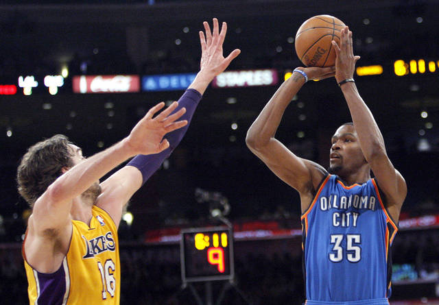 Oklahoma City's Kevin Durant (35) shoots over Los Angeles' Pau Gasol (16) during Game 4 in the second round of the NBA basketball playoffs between the L.A. Lakers and the Oklahoma City Thunder at the Staples Center in Los Angeles, Saturday, May 19, 2012. Photo by Nate Billings, The Oklahoman