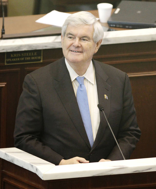 Newt Gingrich speaks to the Oklahoma House of Representatives at the state Capitol in Oklahoma City, OK, Tuesday, Feb. 21, 2012. By Paul Hellstern, The Oklahoman