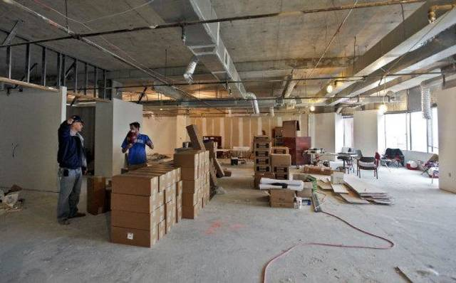 Construction crews work on millions of dollars in renovations to get 130,000 square feet of space ready for Enogex LCC at Leadership Square in downtown Oklahoma City.