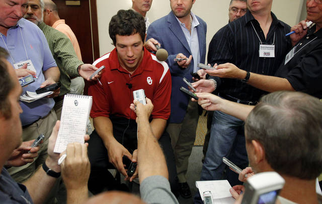 OU quarterback Sam Bradford meets the media on Tuesday. Photo by Bryan Terry, The Oklahoman.