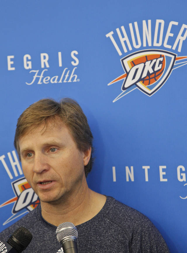 NBA BASKETBALL: Coach Scott Brooks talks to the media during the Oklahoma City Thunder practice in Oklahoma City, Okla. on Monday, Dec. 12, 2011. Photo by Chris Landsberger, The Oklahoman