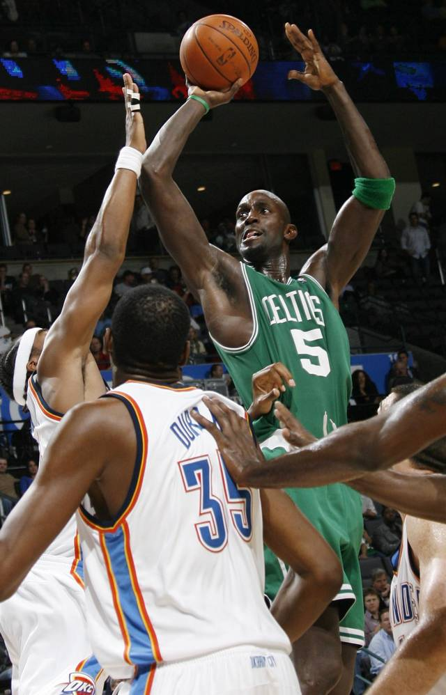 Boston's Kevin Garnett takes a shot in the second half during the NBA basketball game between the Oklahoma City Thunder and the Boston Celtics at the Ford Center in Oklahoma City, Wednesday, Nov. 5, 2008. Boston won, 96-83. BY NATE BILLINGS, THE OKLAHOMAN