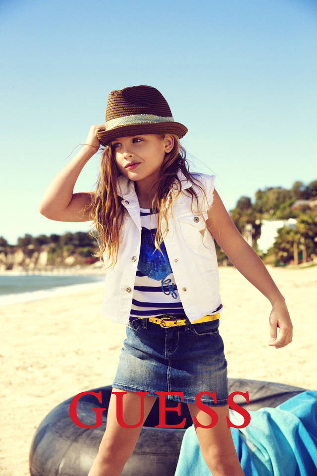 This campaign ad image provided by Guess Inc. shows 6-year-old Dannielynn Birkhead. Birkhead, the daughter of the late Anna Nicole Smith, is walking in her mother's shoes, taking a starring role in the spring ad campaign for Guess Kids. AP Photo/Guess Inc. <strong> - AP</strong>
