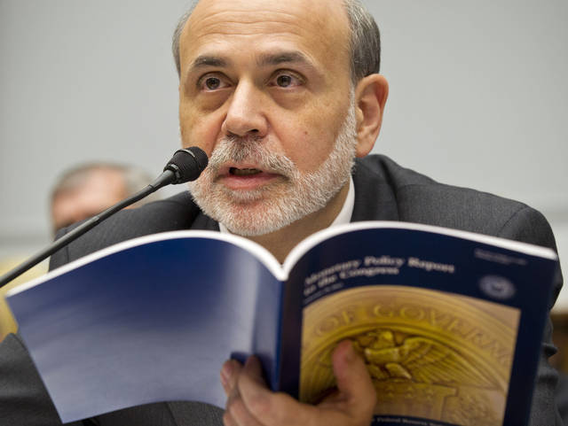 Federal Reserve Chairman Ben Bernanke testifies Feb. 29 on Capitol Hill in Washington, before the House Financial Services Committee to deliver the semi-annual monetary policy report. AP Photo