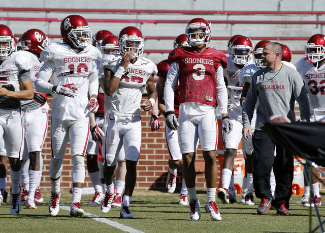 Sterling Shepard (3) goes through drills as the University of Oklahoma Sooners (OU) begin spring practice on Owen Field at Gaylord Family-Oklahoma Memorial Stadium in Norman, Okla., on Tuesday, March 11, 2014. Photo by Steve Sisney, The Oklahoman