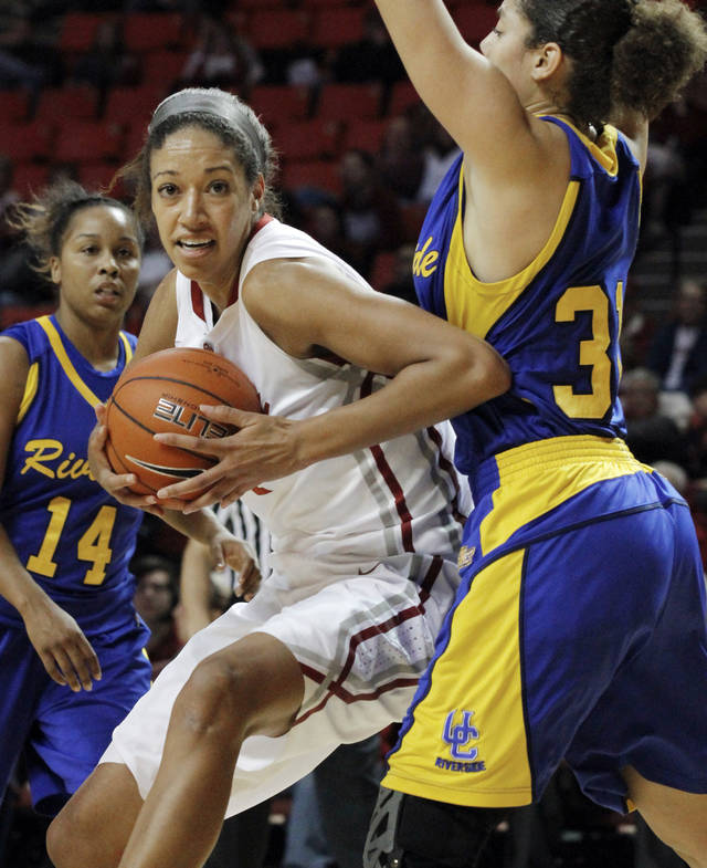 Oklahoma's Nicole Griffin (4) drives around Dynese Adams (13) as the University of Oklahoma Sooners (OU) play the Riverside Highlanders in NCAA, women's college basketball at The Lloyd Noble Center on Thursday, Dec. 20, 2012  in Norman, Okla. Photo by Steve Sisney, The Oklahoman