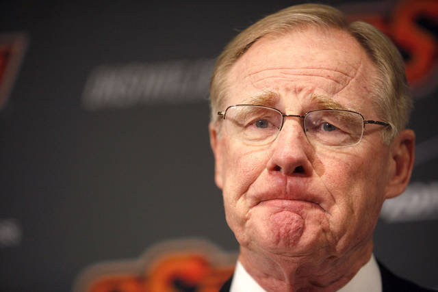 Oklahoma State president Burns Hargis speaks during a press conference about an Arkansas plane crash that killed women's basketball coach Kurt Budke, assistant coach Miranda Serna at Gallagher- Iba Arena in Stillwater, Okla.,  Friday, Nov. 18, 2011.  Photo by Sarah Phipps, The Oklahoman