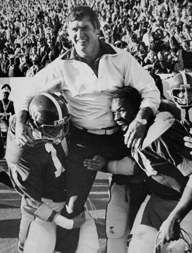A happy Jim Stanley is carried off the field by players following OSU's clinching of a share of the Big Eight title Nov. 20, 1976: Oklahoma State University (OSU) football coach Jim Stanley. Stanley died Jan. 12, 2012 at the age of 77 after a bout with lung cancer. Photo by Bob Albright, The Oklahoman