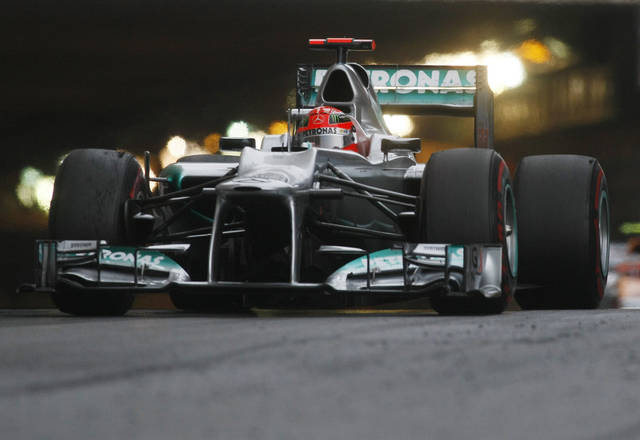 Mercedes Grand Prix driver Michael Schumacher, of Germany, steers his car during the Monaco Formula One Grand Prix at the Monaco racetrack, in Monaco, Sunday, May 27, 2012. (AP Photo/Christian Lutz)