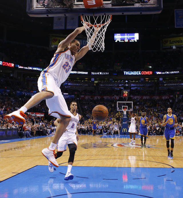 Oklahoma City's Kevin Martin (23) dunks the ball during an NBA basketball game between the Oklahoma City Thunder and the Golden State Warriors at Chesapeake Energy Arena in Oklahoma City, Wednesday, Feb. 6, 2013. Photo by Bryan Terry, The Oklahoman