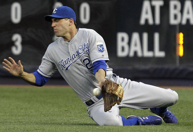 Kansas City Royals right fielder Jeff Francoeur misplays New York Yankees' Curtis Granderson's third-inning base hit during their baseball game at Yankee Stadium in New York, Wednesday, May 23, 2012. (AP Photo/Kathy Willens)